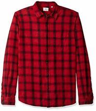 AG Adriano Mens Top Black Red US Medium M Plaid Button Down Flannel $149 #044