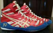 Asics Size 7 wrestling shoes j3a1y red white blue gold Jordan Burroughs Jb Elite