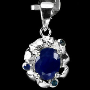 GENUINE AAA BLUE SAPPHIRE OVAL & ROUND STERLING 925 SILVER FLOWER PENDANT