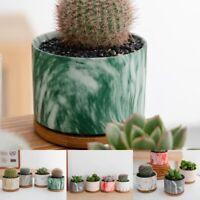 Ceramic Succulent Plant Pot Cactus Flower Bonsai Container Planter Bamboo Tray