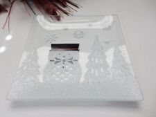YANKEE CANDLE Jackson Frost Crackle Candle Plate NIB SNOWMAN Free Shipping