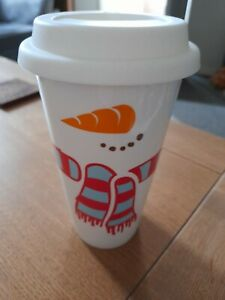 Costa Snowman Ceramic Travel Cup 14fl oz with LID [Christmas]