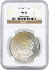 1878 CC $1 Morgan Silver Dollar NGC MS62 Toned Uncirculated Key Date Coin
