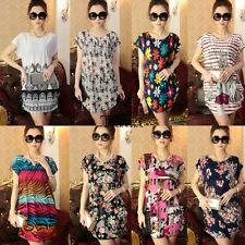 Summer Women Boho Floral Ice Silk Loose Shirt Blouse Top Casual Party Mini Dress
