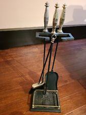 Vtg 4Pc Fireplace Tool Set . Victorian, balck with brass handles