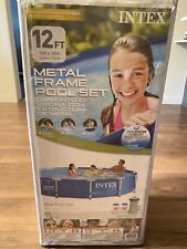 """Intex 12' x 30"""" Metal Frame Round Above Ground Swimming Pool with Filter & Pump"""
