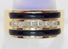 MENS SOLID 14K YELLOW GOLD BLACK ONYX AND CHANEL SET DIAMOND BAND RING