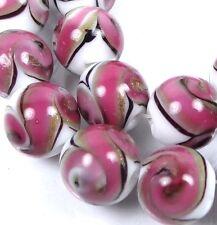 12mm Lampwork Handmade Glass Pink Swirls with Gold Sand Round Beads (8)