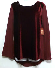 New+Tags Faded Glory Ladies Burgundy Velvet Polyester Shirt - Sz XL (16-18)