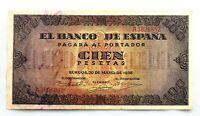 Spain Guerra Civil-Billete. 100 Peseta 1938. Burgos. EBC+/XF+. Escaso