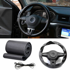 Car Auto DIY Black Genuine Leather Steering Wheel Cover Wrap Sew-on Kit 38CM