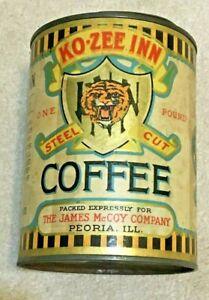 Vintage KO-ZEE INN Brand Coffee Tin Paper Label 1lb, Tiger; McCoy Co, Peoria, IL