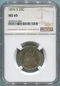 1876 S Seated Liberty Quarter. NGC MS60