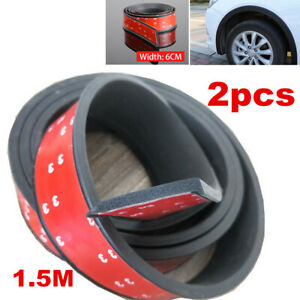 2x Universal Car Wheel Fender Extension Rubber Moulding Flare Trim Protector
