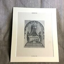 Antique Print  Alcove Bed Bedroom Furniture Drawing Classical Decor