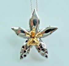 Risis Orchid Pin/Pendant Necklace with Swarovsky Crystals