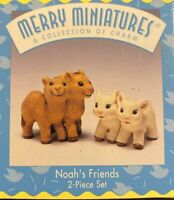 Noah's Friends`1996`Merry Miniatures-2 Pic Story Time,Hallmark Figurine Set-New