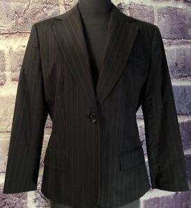 NEW Ann Taylor Blazer Jacket Black Pinstripe Single Button Size 8 RETAILS $149