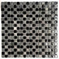 "La Jacond 5/8"" x 5/8"" Slate and Glass Blend Mosaic Wall Tile Backsplash"