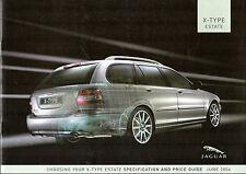 Jaguar X-Type Estate 2004 UK Market Specification Brochure Classic S Sport SE