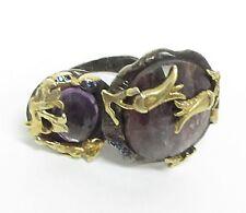925 Silver & 18K Gold - Vintage Antique Gemstone & Amethyst Ring 25g - Sz 8