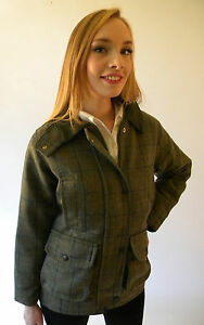 Tweed Jacket New Ladies Made In England Fitted Blue Moleskin Collar 8 10 12 14
