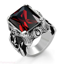 Нержавеющая сталь красный принцесса с цирконием дракон коготь мужская кольцо, ремешок в подарок размер 6-12