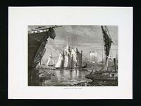 1874 Antique Print - Scene on the East River - New York City Sailboats Ships