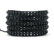 ROCCIA NATURALE Lava Stone Bracciale con Perline Wrap Nero Men's Leather Bracciale 5 fili