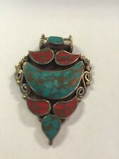 Tibetan Buddhist Turquoise Coral Pewter Pendant Necklace Locket Handmade Nepal 6