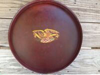 """Early American Leather and Wood 14"""" Round Serving Bar Tavern Tray with Eagle"""