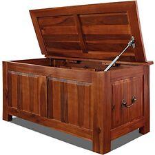 Large Wooden Storage Box Chest Hardwood Brown Antique Lid Blanket Toy Cabinet