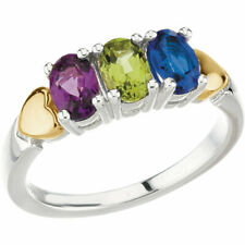 Silver & 14K Gold Heart Gold Birthstones Ring 1 to 5 Oval Shaped Stones