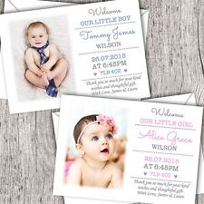 Personalised New Baby Photo Thank You Cards. Announcement/Christening Boy/Girl C