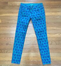 Nanette Lepore L'Amour Junior's Size 3 Skinny Jeans ~ Teal Green w/ blue flowers