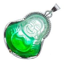 Chinese Emerald Green Jade Jadeite 18K White Gold Plated Buddha Pendant #030