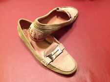 Tommy Bahama Women's All Leather Green & Tan Loafers Made In Italy Size 6.5