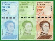 Venezuela - set 3 banknotes 10000 20000 50000 Bolivares 2019 UNC