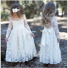 Lace Flower Girl Dress Pageant Party Princess Bridesmaid Wedding Tulle Dresses