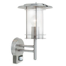Polished Stainless Steel Modern Exterior Wall Light C/w PIR Security Light.
