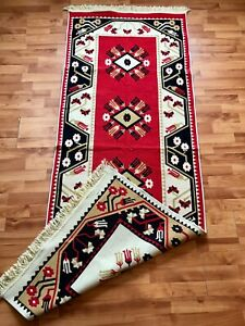 Traditional Transylvanian Two Sides Rug, Vintage Romanian Carpet