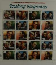 US SCOTT 3345 - 3350 PANE OF 20 BROADWAY SONGWRITERS 33 CENTS FACE MNH