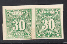 Liberia # 108 Pair Color Trial GREEN On Card (No Gum As Always)
