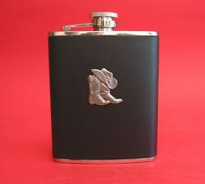 Country & Western Line Dancing Gift 6oz Black Leather Hip Flask NEW Cowboy Boots