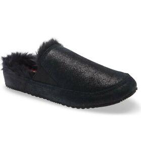 New Women's SOREL Black Go Errand Run Faux Fur Lined Slipper Size 9
