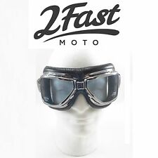 2FastMoto Roadhawk Goggles Chrome Frame Scooter Moped Vespa CFMoto Tomos