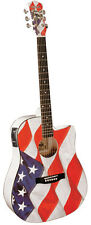 INDY AMERICAN FLAG DREADNOUGHT ACOUSTIC/ELECTRIC GUITAR USA -1CE A/C