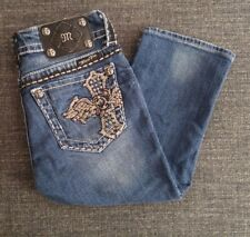 Miss Me Jeans Bermudas Cross Embellished Bling Rhinestone Pocket Womens JE5095C3