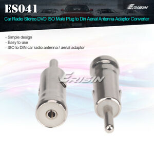 ISO Male Plug to Din Aerial Antenna Adaptor Converter For Car DVD Players Radios