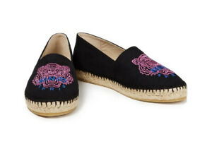 Kenzo Tiger Shoes metallic embroidered cotton-canvas espadrilles Size: 37 Auth